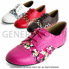 Womens Lace Up Floral Flat Oxford Shoes
