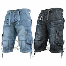 New Mens Shorts Eto Jeans Branded Designer Combat Cargo Summer Dark Wash Denim