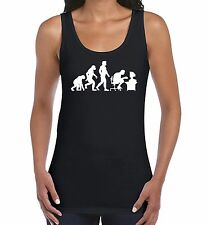 Ladies Novelty Vest Top Evolution of a Computer Geek Gamer Sizes 8 to 20