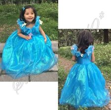 Cinderella Deluxe Kids Girls Blue Tulle Dress Patry Costume Princess Dress Up
