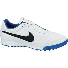 NIKE TIEMPO GENIO LEATHER TF Turf Soccer Shoes White/Treasure Blue 631284-104