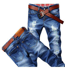 Hot Classic Men Stylish Designed Straight Slim Fit Trousers Casual Jeans Pants W