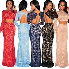 Womens Ladies Long Evening Lace Maxi Dress Prom Formal 2 Two Piece Skirt Set