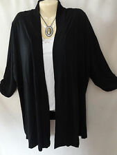 NEW Catherines Black Medium Wt Stretch Cardigan Top 2X 3X 4X 5X 22W-36W Plus