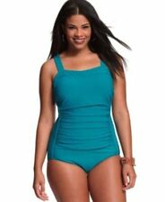 NWT INC Turquoise One Piece Ruched Swimsuit Bathing Suit Plus Size 16W - 22W