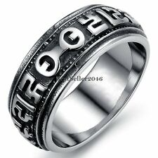 Casting Black Silver  Infinity Om mani padme hum Stainless Steel Ring for Men