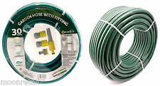 Garden Water Hose Pipes Watering Reinforced Coil No Kink Green Reel Outdoor Set