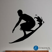 Surfer wall decal, surfer decor, wave wall decal, wave wall art, D00082