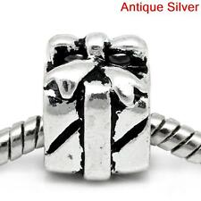 3D Birthday Gift Box with Bow Present Slide Charm Bead fits Euro Bracelet Chain