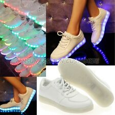 7 Colors Unisex Women Ladies White Casual Flat Sport Dancing LED Luminous Shoes