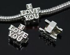 40/200pcs Tibet Silver big hole I LOVE YOU beads Fit Charm Bracelet (Lead Free)