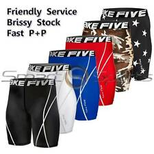 Mens Compression Shorts Knee Length Pants Leggings AFL Rugby Skins Take 5