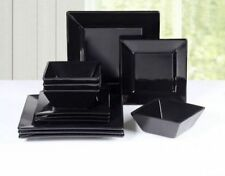 Black White Square Ceramic Porcelain China Dinner Sets Service 12 Piece