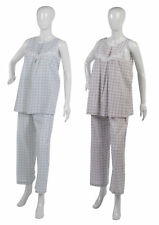 Ladies Seersucker Pyjamas Set Floral Lace Detail Check PJs 100% Cotton Nightwear