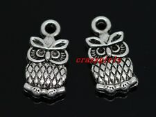 10/40/240pcs Tibet Silver owl Jewelry Finding Charms pendant DIY 15x8mm
