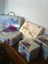 WOODEN DECORATIVE SUITCASE TRUNK,BIRD FLORAL BOX ORGANISER TIDY CABINET  COUNTRY