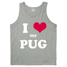 I Heart Love My Pug, Dog Breed Puppy Pet Parent Puppies Animal Mens Tank Top