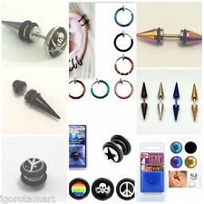 SINGLE SPIKE MAGNETIC NON PIERCING FAKE PLUG CHEATER ILLUSION STRETCHER EARING