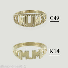 """9ct Yellow Gold """"MUM"""" Ring and Signet Rings in Finger Sizes I-Q"""