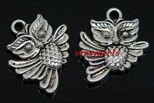 10/40/240pcs exquisite Tibet silver two-sided owl Charms pendant DIY 20x17mm