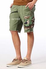 Denim Supply Ralph Lauren Men Military Army Camo Cargo Pocket Shorts Pants Green