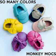 Baby Moccasins Leather Monkey Mocs Soft Moccs Newborn Infant Shoes Fringe Bow