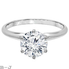 Engagement Ring Solitaire 14K White Gold 4.00 Ct Round Brilliant Diamond Cut