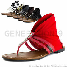 Womens T-Strap Gladiator Thong Wrap Sandals