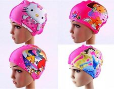 Cute Cartoon Kids children boys girls Lycra fabric swimming cap bathing cap