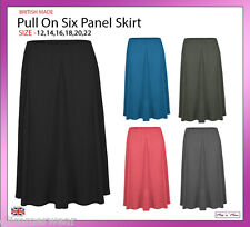 New Ladies Women Plain Soft Viscose Pull On Six Panel Skirt Plus Sizes 12-22