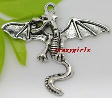 3/15/90pcs Tibet Silveran Lovely Winged dragon Charms Pendant DIY 38x32mm