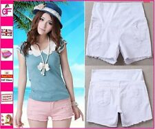 New Cotton White Maternity Shorts Summer Over Under Bump Pregnancy Jeans  -S009