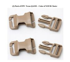 ITW QASM Quick Attach Buckle for MOLLE (2) Pack BLACK, Coyote Brown, Foliage,TAN