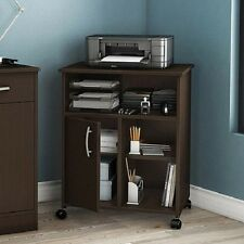 Printer Stand Mobile Office Desk Computer Table Home Shelf Cart Storage Wood NEW