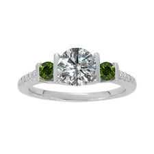 1 Carat G-H & Green Diamond 3 Stone Wedding Anniversary Ring 14K White Gold