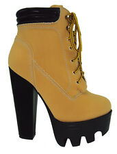 Wild Diva Women Ankle Boot Thick Chunky Lug Heel Booties Platform Construction