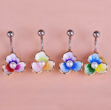 3 Petals Imitation Pearl Belly Button Dangle Navel Ring Body Piercing Jewelry