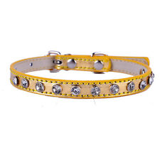 Rhinestones Puppy Dog Collar Personalized Leather Dog Necklace Pet Products XS