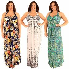 New Womens Plus Size Tropical Printed Knot Maxi Halter Neck Maxi Dress 18-24