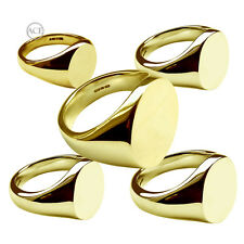 18ct Yellow Gold Signet Rings Oval 750 UK Hallmarked Solid Family Crest Rings