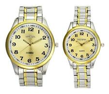 Vintage Relogio Stainless Steel Gold Color Dial Men Women Jewelry Watch Sets