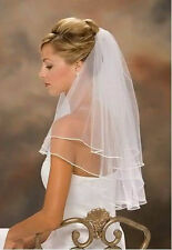 New Ivory or White  2t Wedding Bridal Satin Edge Veil With Comb