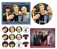 5 SECONDS OF SUMMER Birthday Party Cake Edible Image Toppers, Cupcakes, or Sides