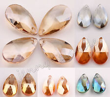 Faceted AB Clear Crystal Glass 6106 Pear Bead Teardrop Pendant Finding 16mm 22mm