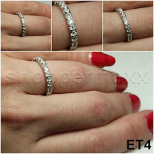 SOLID NICKEL FREE 1.68 CT STERLING SILVER ROUND CZ STACKED ETERNITY BAND RING