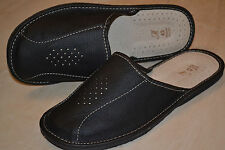 Mens Genuine Leather Slippers Shoes Sandals Black Handmade In Poland Slip On New