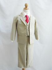 Baby toddler teen boy khaki/taupe/ivory color long tie formal suit bridal party