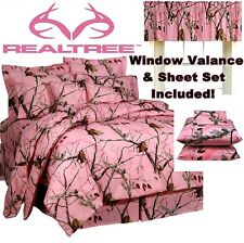 Girl REALTREE PINK CAMOUFLAGE Twin/Full/Queen COMFORTER+SHEET+WINDOW CURTAIN Set