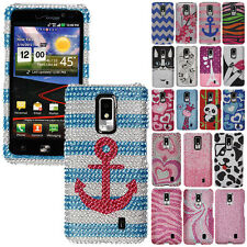 For LG Spectrum VS920 Design Bling Crystal Gem Hard Skin Protector Case Cover