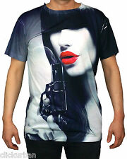 KAYDEN.K Men's Sublimation All Over Print T-Shirt Boss Lady With A Gun  S-XL